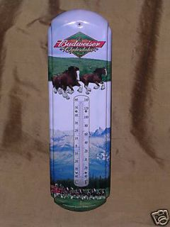 BUDWEISER BEER CLYDESDALE HORSES THERMOMETER BAR TIN SIGN NR!!!