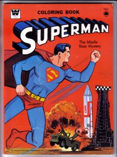 SUPERMAN COLORING BOOK, THE MISSILE BASE MYSTERY, WHITMAN, 1965