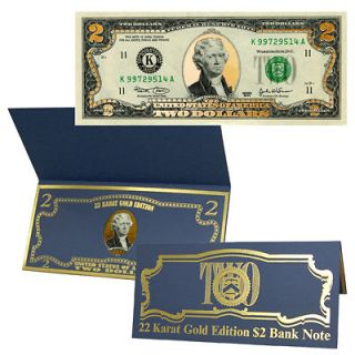 22K Gold $2 Two Dollar Bill Federal Reserve Note w/ Certificate of