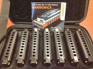 New 7 PACK Hohner BLUES A Bb C D E F G Keys HARMONICAS Set CASE FREE