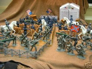 CIVIL WAR ARMY MEN BRIDGE SET Confederate vs. Union, horses buildings