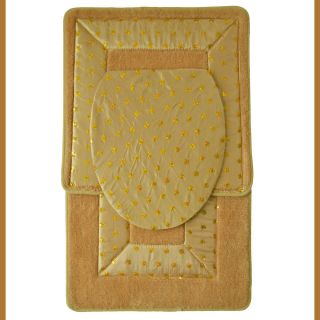 GOLD 3 Piece Bathroom Rug/Mat SETBath Mat,Contour Rug,Toilet SeaT Lid