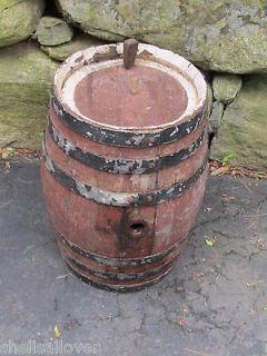 Wooden Primitive Nail Keg Barrel Metal Wire Bands Rustic Country