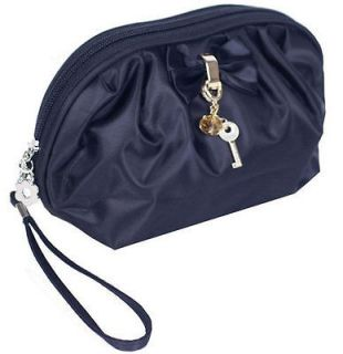 Bow Dangling Key Black Small Cosmetic Wristlet Bag Coin Purse #B091