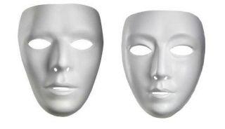 WHITE ADULT MEN WOMEN FEMALE MALE MASK DRAMA COSTUME FACE MASK MASKS