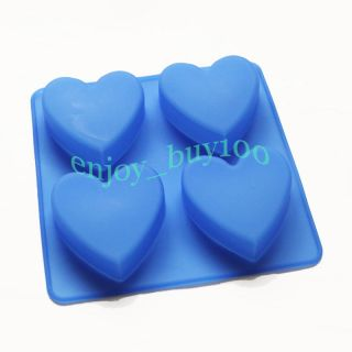 Heart Shape 4 Cavity Cake Soap Chocolate Silicone Mold For Homemade