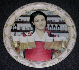 Corona Cerveza Metal Beer Tray   Girl Serving 6 Mugs of Corona
