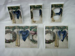 Country Folk Art Blue Hearts & Ivy Light Switch Cover Plate Outlet GFI