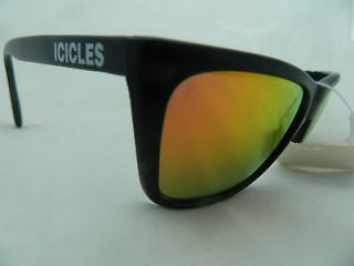 ICICLES SUNGLASSES BLACK PLASTIC FRAME GRAY LENSES   SHADES ORANGE