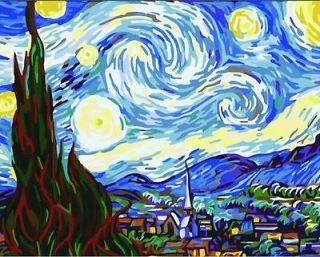 Vtg paint by numbers 16*20 kit DIY painting Van Gogh Starry Night