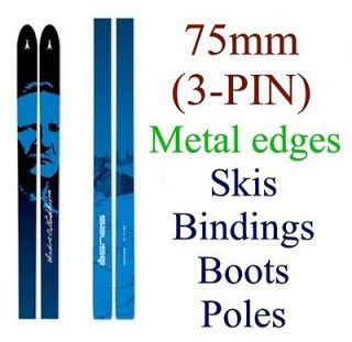 75mm (3 pin) cross country XC SKIS/BINDINGS/BOOTS/POLES   Metal Edge