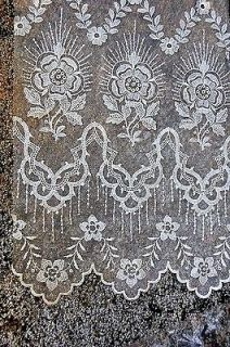 Vintage French Lace Curtain Panel Filet Net Kitchen Window 9 x 34