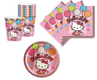Hello Kitty Birthday Party Supplies Plates Napkins & Cups Set for 8 or