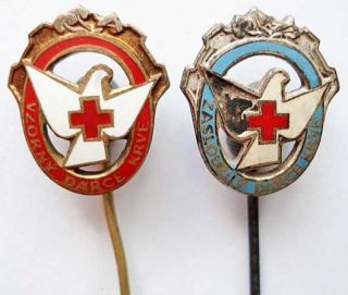 Czechoslovakia set pin EXCELLENCE Red Cross gold silver