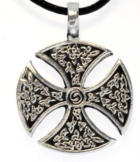 IRON CROSS Silver Pewter Pendant Leather Necklace