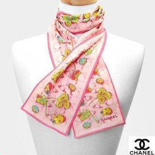 Authentic $437 CHANEL Ladybug & Clover Pink 100% Silk Scarf Italy Made