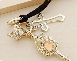 New Popular Fashion cute Retro Crown Key Cross Leather Strap JUICY