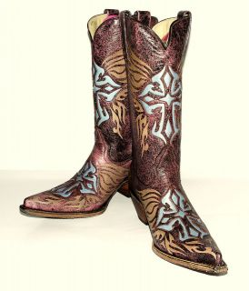 Womens Je Ver Crackle 109G Pink Studded Western Boots Cross Inlay