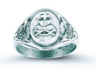 .925 Sterling Silver Sacred Heart Jesus Christ Crown of Thorns Ring