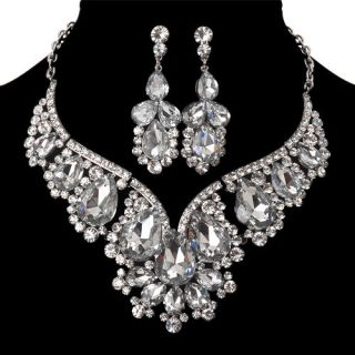 Designer Wedding Jewelry Crystal Rhinestone Earrings Necklace Set