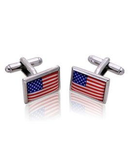 American Flag Silver Novelty Cufflinks (NCL2501)