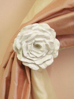 Shabby Cottage Chic White French Rose Curtain Tieback