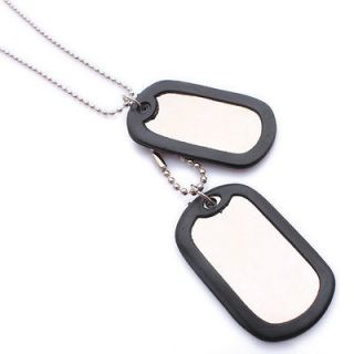 Army Style Cool Blank Mens Dog Tag Pendant Necklace P573