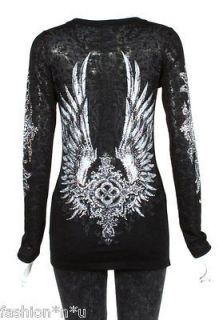 CRYSTAL CROSS ANGEL WINGS TATTOO BLACK BURNOUT L/S T SHIRT M & ED