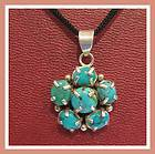 Hand Made Sterling Silver Turquoise Arrowhead Pendant Necklace
