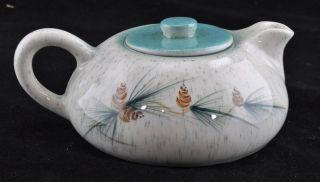 Rocky Mountain Pottery Flat Tea Pot Pine Cone & Needle Design