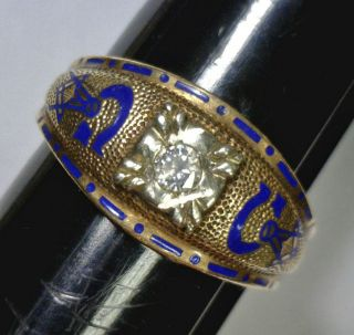 Vintage 10K 14K Gold Masonic Mason Ring with .25 carat Diamond
