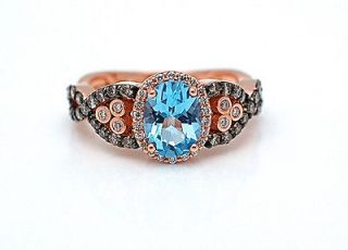 LeVian Blue Topaz with Chocolate Diamonds RING 14 KT Solid Rose Gold