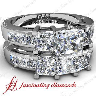 Wedding Engagement Rings Set 3.3 Ct Princess Cut Diamond E Color GIA