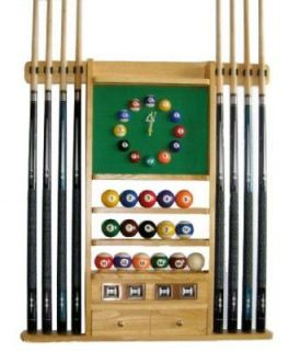 Cue Stick and Pool Ball Wall Rack   Holder W Clock Oak Finish