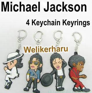 4PCS Michael Jackson King Billie Jean Thriller Keychain