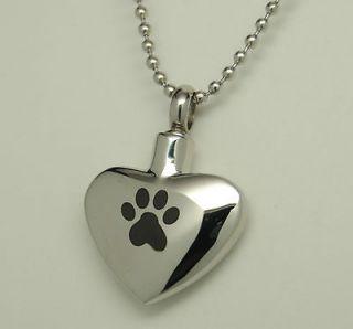 BLACK PAW PET CREMATION URN NECKLACE STAINLESS HEART URN PET URN DOG