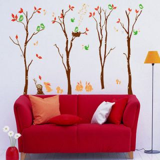 4Lovely Trees Color Brown Room Wall Sticker Decor Decals Removable