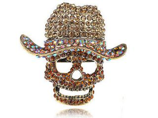 Light Topaz Crystal Rhinestone Skull Cowboy Hat Statement Ring