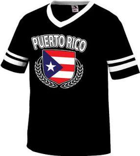 Puerto Rico Rican Flag Crest Olive Branch Regal Mens Ringer T shirt