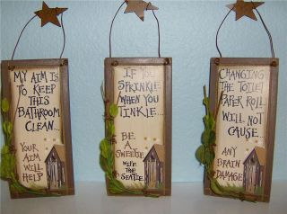 Set of 3 New Country Primitive Wood OUTHOUSE Bathroom Home Decor Signs