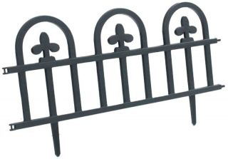 PACK BLACK DECORATIVE PLASTIC EDGE FENCING GARDEN BORDER EDGING FENCE