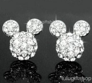 DISNEY MICKEY MOUSE 18K WHITE GOLD PLATED STUDS EARRINGS USE SWAROVSKI