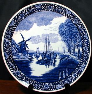 Delft style large signed decorative plate server by Boch La Louviere