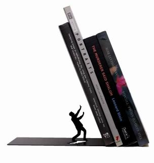 Design Falling Books Metal Bookend Humorous Book Stand   Black