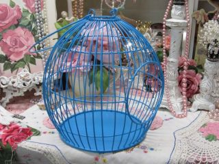 JEWEL AQUA ROUND METAL BIRD CAGE DECOR~Shabby~C​ottage~Chic