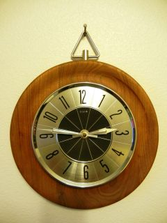 Mid Century Danish Modern Elgin Wood Wall Clock AA Battery Operated