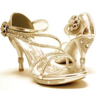 New womens shoes stilettos rhinestones velcro wedding prom gold