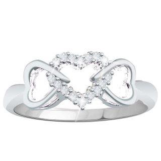 Diamond Sterling Silver Triple Hearts Promise Ring with Gift Box