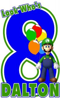 SUPER MARIO BROS LUIGI BIRTHDAY PERSONALIZED T SHIRT DESIGN DECAL NEW