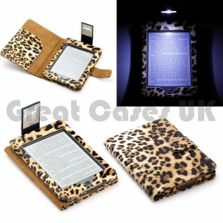 KINDLE TOUCH LEOPARD PATTERN PU LEATHER CASE COVER WITH SLIM